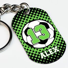 Soccer Printed Dog Tag Keychain Personalized Soccer Ball with Dots Background