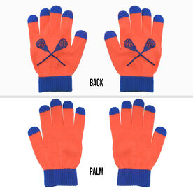 Lacrosse Touchscreen Knit Gloves - Orange/Blue