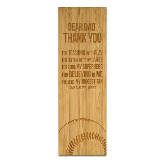 """Softball 12.5"""" X 4"""" Engraved Bamboo Removable Wall Tile - Dear Dad"""