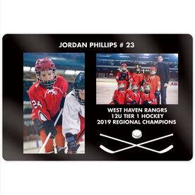 """Hockey 18"""" X 12"""" Aluminum Room Sign - Player and Team Photo"""