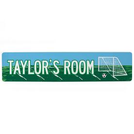 "Soccer Aluminum Room Sign - Personal Soccer Room (4""x18"")"