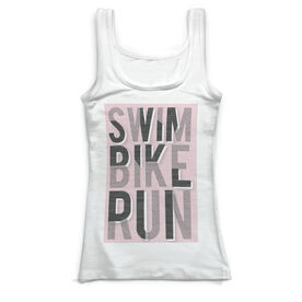 Triathlon Vintage Fitted Tank Top - Swim Bike Run