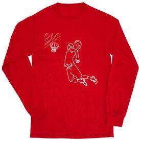 Basketball Tshirt Long Sleeve - Basketball Player Sketch