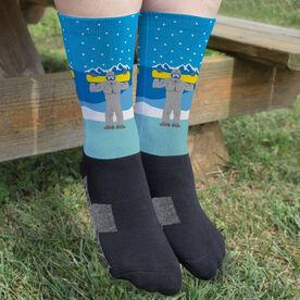 Snowboarding Printed Mid-Calf Socks - Yeti