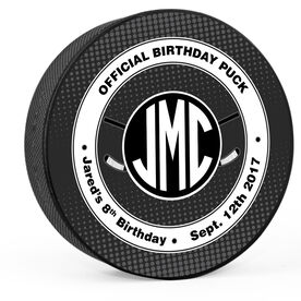 Personalized Monogram Official Birthday Hockey Puck