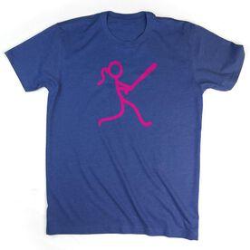 Softball Tshirt Short Sleeve Stick Figure Batter