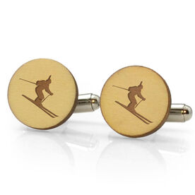 Skiing Engraved Wood Cufflinks - Silhouette