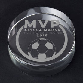 Soccer Personalized Engraved Crystal Gift - MVP Award