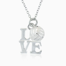Love Volleyball White Necklace