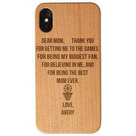 Basketball Engraved Wood IPhone® Case - Dear Mom Thank You Heart