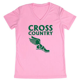 Women's Customized Pink Short Sleeve Tech Tee Cross Country Winged Foot