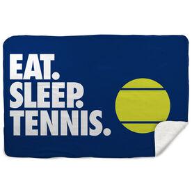 Tennis Sherpa Fleece Blanket - Eat. Sleep. Tennis. Horizontal