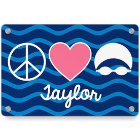 Swimming Metal Wall Art Panel - Personalized Peace Love Swim