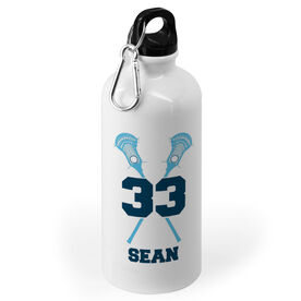 Guys Lacrosse 20 oz. Stainless Steel Water Bottle - Personalized Guys Crossed Sticks