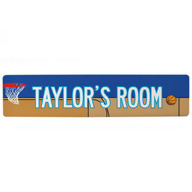 "Basketball Aluminum Room Sign - Personalized Basketball Room Sign (4""x18"")"