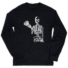 Guys Lacrosse Tshirt Long Sleeve - Skeleton (White)