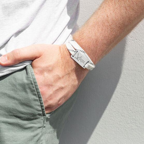 Adjustable Hockey Lace Bracelet With Slider - Personalized Crossed Sticks