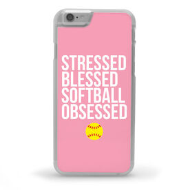 Softball iPhone® Case - Stressed Blessed Softball Obsessed