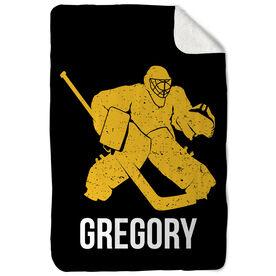 Hockey Sherpa Fleece Blanket - Personalized Goalie