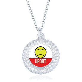 Tennis Braided Circle Necklace - Team Initials With Ball