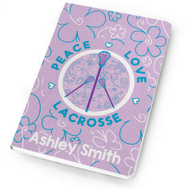 Girls Lacrosse Notebook Peace Love Lacrosse Flowers