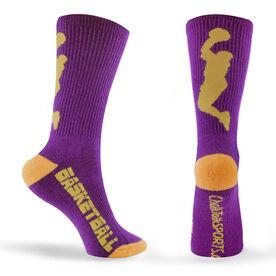 Basketball Woven Mid Calf Socks - Player (Purple/Gold)