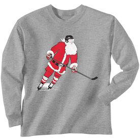 Hockey T-Shirt Long Sleeve Slap Shot Santa