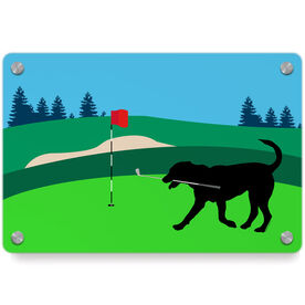 Golf Metal Wall Art Panel - Ace The Golf Dog
