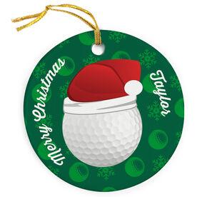 Golf Porcelain Ornament Ball Santa Hat