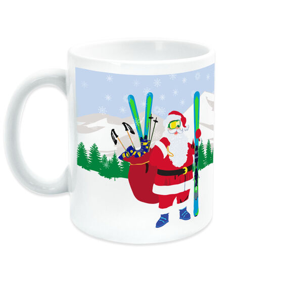 Skiing Coffee Mug Santa