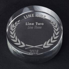 Softball Personalized Engraved Crystal Gift - Custom Laurel Wreath