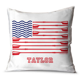 Crew Throw Pillow Personalized Crew American Flag