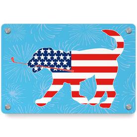 Golf Metal Wall Art Panel - Patriotic Ace The Golf Dog