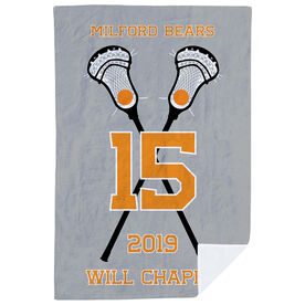 Guys Lacrosse Premium Blanket - Personalized Crossed Sticks Team
