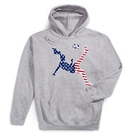 Soccer Hooded Sweatshirt - Girls Soccer Stars and Stripes Player