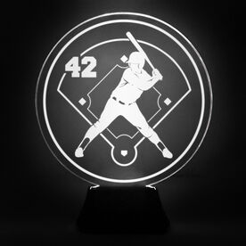 Softball Acrylic LED Lamp Batter With Number