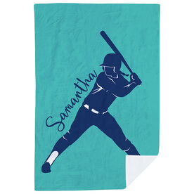 Softball Premium Blanket - Personalized Batter Silhouette