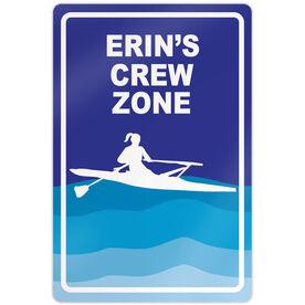"Crew 18"" X 12"" Aluminum Room Sign Personalized Crew Zone Girl"
