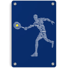 Tennis Metal Wall Art Panel - Personalized Tennis Words Guy
