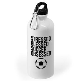 Soccer 20 oz. Stainless Steel Water Bottle - Stressed Blessed Soccer Obsessed