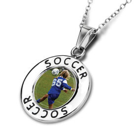Soccer Circle Necklace Your Photo