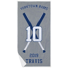 Baseball Premium Beach Towel - Personalized Team with Crossed Bats