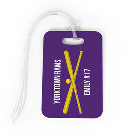 Softball Bag/Luggage Tag - Personalized Text with Crossed Bats