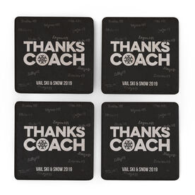 Skiing & Snowboarding Stone Coasters Set of Four - Coach (Autograph)