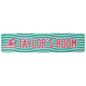 "Swimming Aluminum Room Sign - Personalized Swim Room Sign Girl (4""x18"")"