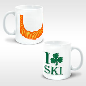 Skiing Coffee Mug Leprechaun Beard I Shamrock