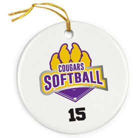 Softball Porcelain Ornament Custom Softball Logo with Team Number