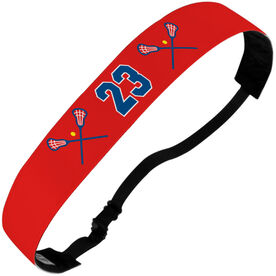 Girls Lacrosse Juliband No-Slip Headband - Crossed Sticks and Number