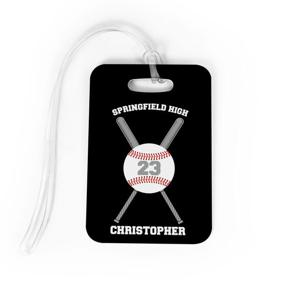 Baseball Bag/Luggage Tag - Personalized Baseball Team with Crossed Bat