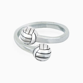 Sterling Silver Volleyball Adjustable Ring